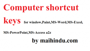 Computer shortcut keys for Windows & others a2z
